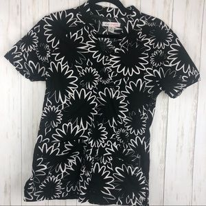 Koi black and white floral stretch scrub